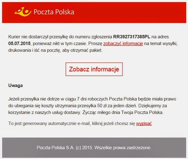 Przykład fałszywej wiadomości e-mail