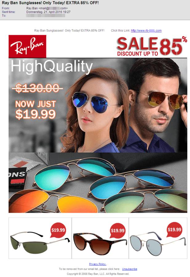 Fałszywy sklep oferujący podejrzanie tanie okulary.