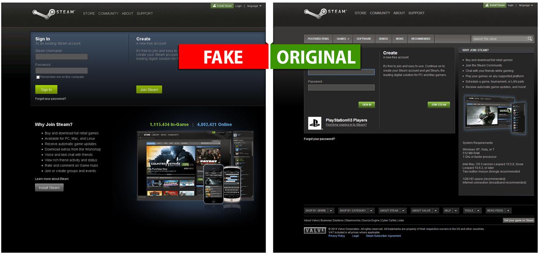Porównanie oryginalnej oraz fałszywej strony popularnego serwisu Steam.