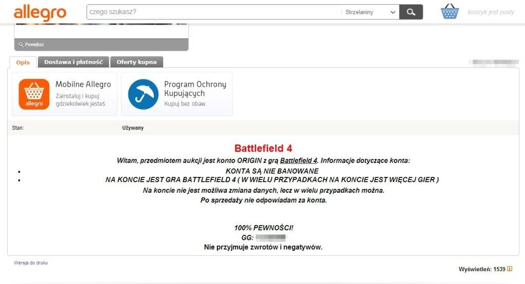 """Oferta sprzedaży nielegalnie przejętych kont platformy Origin z bestsellerową gra Battlefield 4. Najciekawsza część opisu aukcji - """"Po sprzedaży nie odpowiadam za konta""""."""