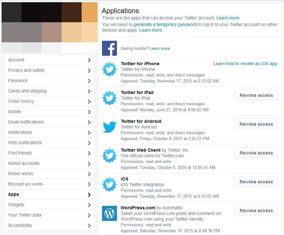 Ustawienia aplikacji Twitter
